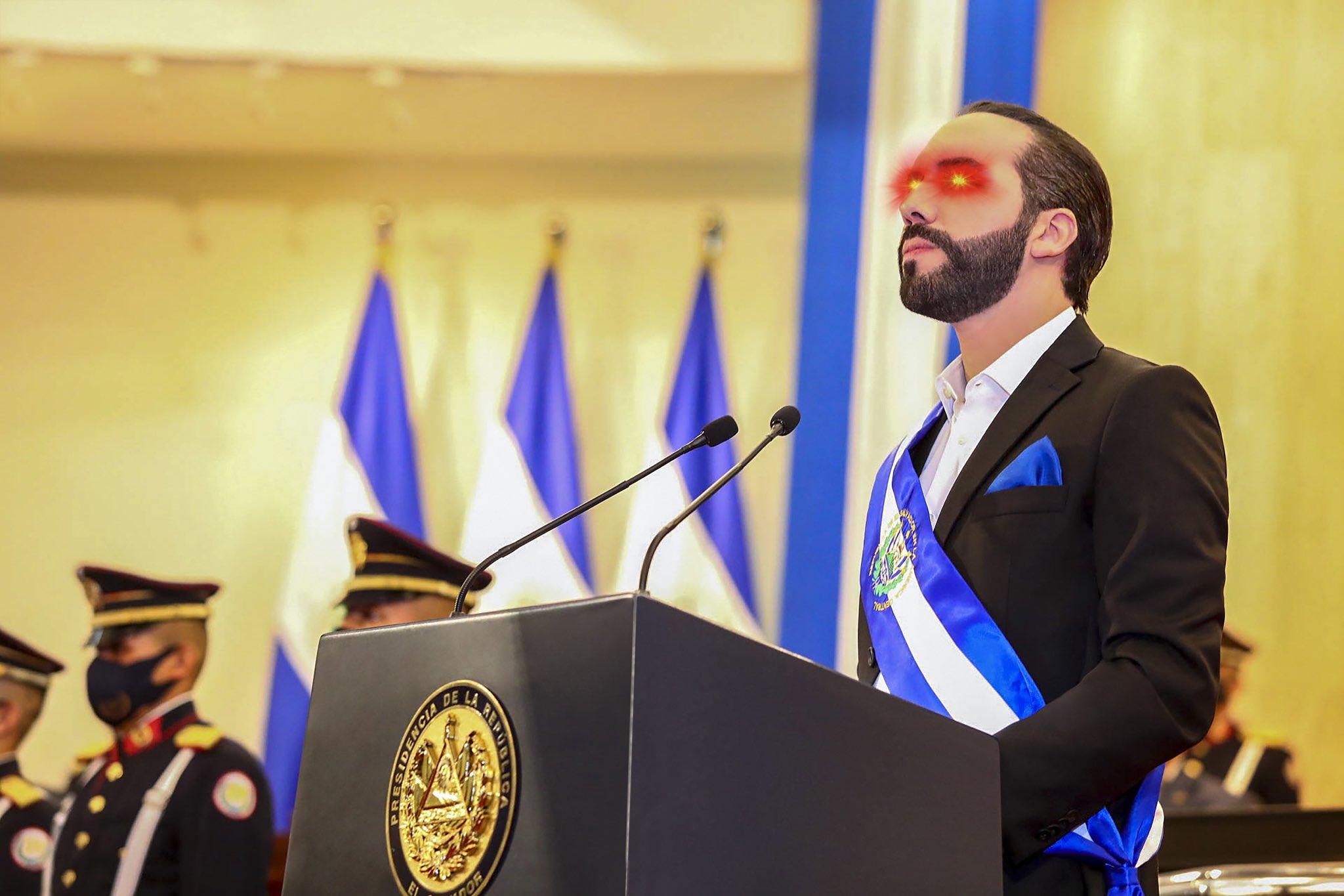 Nayib Bukele with bitcoin eyes